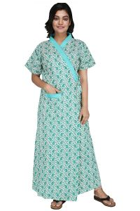 Baby Doll Womens Cotton Nightwear Indian Robe House Coat (Clo_Nig_4213 | Turquoise | X-Large)