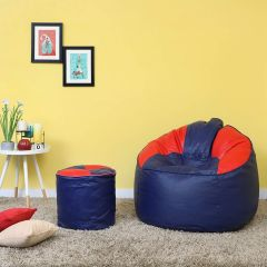 VSK Combo 3XL Sofa Mudda Bean Bag Cover With Round Footrest/Puffy (Without Beans) - Blue & Red
