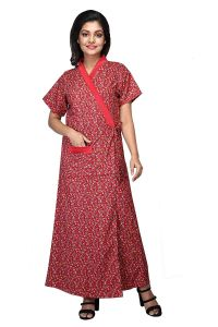 Babydoll Women's Full Long, Front Open Poly Cotton House Coat Nighty with Belt (Red| Large| Clo_Nig_5082)