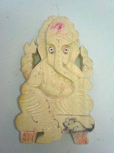 BRAND JUNCTION Hindu God Ganesha Statue (100% Pure Seven Tree Wood) Pooja Statue - Cream