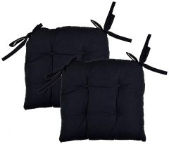Tanishkam Decor Cotton 2-Piece Chair Pad Cushions (Black Chairpads, Set of 2)