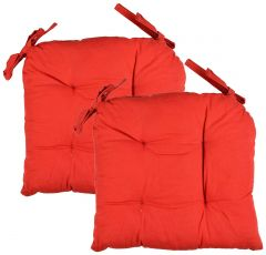 Tanish Cotton 2-Piece Chair Pad Cushions - 16 inches x 16 inches, Red