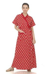 Baby Doll Hydes Women's Cotton Front Open Adjustable Night Gown Robe Housecoat (Clo_Nig_8050 | Red | X-Large | Chest Size 36-38)