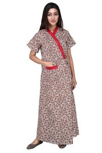 Baby Doll Women's Cotton Front Open Adjustable Housecoat (Clo_Nig_8165   Red   X-Large)