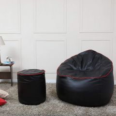 VSK Combo XXXL Sofa Mudda Bean Bag Cover with Round Footrest/Puffy (Without Beans) - Black