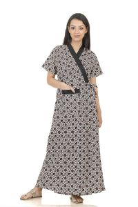 Baby Doll Hydes Women's Cotton Front Open Adjustable Nighty Robe/Housecoat (Black   XL  Clo_Nig_8007)