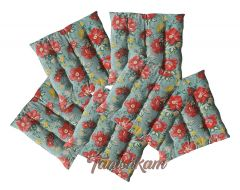 Tanishkam Décor Colorful Square Floral Printed Seat Cushions Chair Pads with Thick Cotton Filler and Ties (40x40x6 cm, Multicolour) - Set of 6 Pieces by Home Colors
