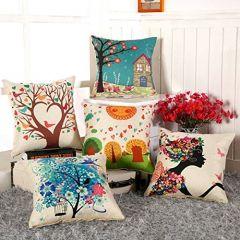 Tanish Tanishkam Decor Jute Digital Printing Ultimate Cushion Covers (Multicolour) -Set of 5