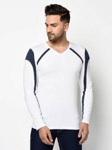 Self Pattern Cotton Full Sleeve V Neck Tees T-Shirt For Men (White)