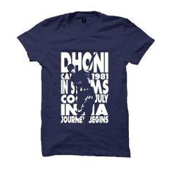 Dhoni 1981 Cotton Round Neck Printed T-Shirt For Men (Blue)