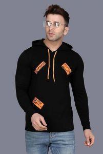 Elegant Full Sleeve Cotton Solid Hoodie Tees For Men & Boys (Black)