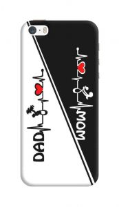 Attractive and Unique Mom-Dad Heart Design Printed Mobile Cover for I Phone 5/5S/5SE