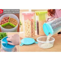Airtight Container Jar With 3 Section Keep 3 Types Of Food In The Same Jar Without Mixing (Pack Of 1)