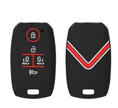Mand High-Quality Silicone Car Key Cover Compatible For Kia Carnival 5 Button Smart Key (Black) (Pack of 1)