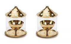 DECORATE INDIA Large Akhand Diya With Borosilicate Glass Table Diya Set (Height: 6 Inch) (Pack of 2)