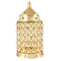 DECORATE INDIA Large Brass Akhand Diya With Diamond Nag Deep Brass Table Diya (Height: 6 Inch) (Pack of 1)