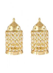 DECORATE INDIA Large Pure Brass Table Diya Set (Height: 6 Inch) (Pack of 2)
