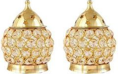 DECORATE INDIA Puja Lamp Crystal  Akhand Brass Table Diya Set (Height: 4.5 Inch) (Pack of 2)