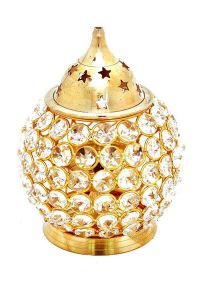 DECORATE INDIA Pure Brass Large Matki Crystal Akhand Table Diya Set (Height: 6 Inch) (Pack of 1)