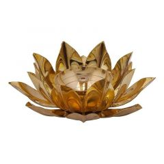 DECORATE INDIA Copper Kamal Style Brass Akhand Table Diya Set Diameter 5 inch (Height: 2 Inch) (Pack of 1)