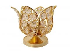 DECORATE INDIA Small Crystal Lotus Akhand Brass Table Diya Set (Height: 4 Inch) (Pack of 1)