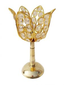 DECORATE INDIA Medium Crystal Lotus Akhand Brass Table Diya Set (Height: 7 Inch) (Pack of 1)
