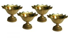 DECORATE INDIA Brass Kuber Akhand Diya For Pooja and Diwali Festival (Height: 3*2.5 Inch) (Pack of 4)