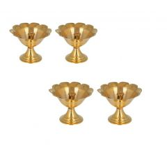 DECORATE INDIA Brass Kuber Plain Table Diya For Pooja and Diwali Festival (Height: 2 Inch) (Pack of 4)