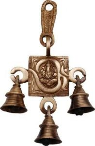 DECORATE INDIA Om Ganesh Hanging Bells Showpiece For Pooja and Prayer (15.24 cm) (Pack of 1)