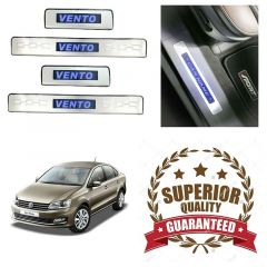 Premium Quality Car Door LED Sill Scuff Plate Foot Steps For Volkswagen Vento (Color-Blue) (Set of 4 Pcs)