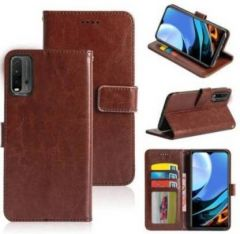 High-Quality Material Leather Wallet Flip Cover For Mi 9 Power (Brown)