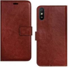 High-Quality Material Leather Wallet Flip Cover For Mi 9a (Brown)