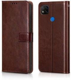 High-Quality Material Leather Wallet Flip Cover For Mi Note 9 (Brown)