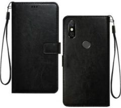 High-Quality Material Leather Wallet Flip Cover For Mi Redmi Note 6 Pro (Black)