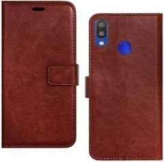 High-Quality Material Leather Wallet Flip Cover For Mi Note 7 Pro (Brown)