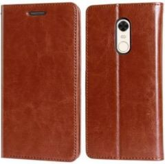 High-Quality Material Leather Wallet Flip Cover For Mi Redmi Note 5 (Brown)
