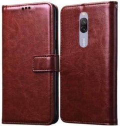 High-Quality Material Leather Wallet Flip Cover For Mi 8A Dual (Brown)