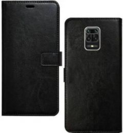 High-Quality Material Leather Wallet Flip Cover For Mi Note 9 Pro (Black)