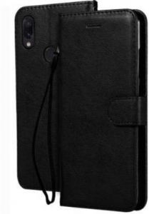 High-Quality Material Leather Wallet Flip Cover For Mi Note 7 Pro (Black)