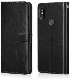 High-Quality Material Leather Wallet Flip Cover For Mi Redmi Y2 (Black)