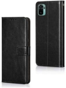 High-Quality Material Leather Wallet Flip Cover For Mi Note 10 (Black)