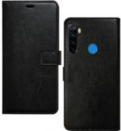High-Quality Material Leather Wallet Flip Cover For Mi Note 8 (Black)