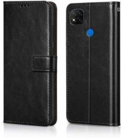 High-Quality Material Leather Wallet Flip Cover For Mi 9c (Black)