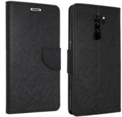 High-Quality Material Leather Wallet Flip Cover For Mi Note 8 Pro (Black)