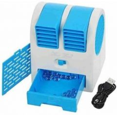 Rechargeable Portable Mini USB Water & Ice Cooling Air Cooler Use For Car, Home and Office Fan (Sky Blue)