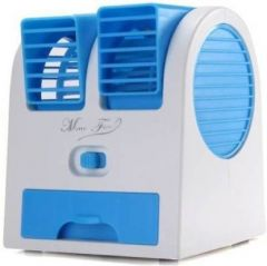 Rechargeable Portable Mini USB Water & Ice Cooling Air Cooler Use For Car, Home and Office Fan (White & Blue)