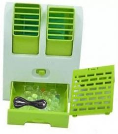 Rechargeable Portable Mini USB Water and Ice Cooling Air Cooler Use For Car, Home, Office Fan (Green)