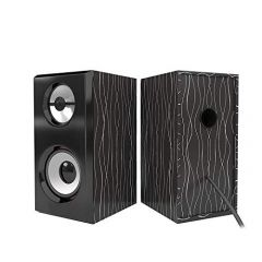 Mand Portable USB Powered Multimedia Wooden Speaker With AUX Input (Black) (Pack of 1)