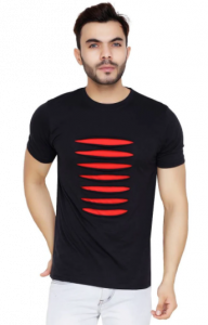 Multicolored Blend Self Pattern Round Neck Tees Half Sleeves Cotton T-Shirt For Men's
