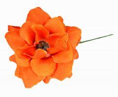 Homeoculture Bright Orange Stem Flower Hair Clips |looks like Natural Flower | Latest Design Hair Accessories (Pack of 2)